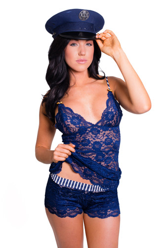 Navy Blue Lace Hip Length Cami with Striped Straps