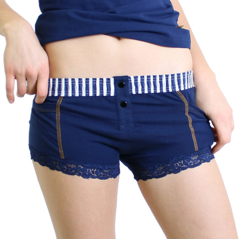 Navy Boxer Brief with Gold Stitching