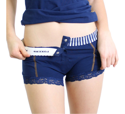 Navy Boxer Brief with Striped Waistband