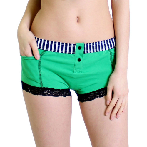 Kelly Green Boxer Brief Black white Stripe FOXERS Band