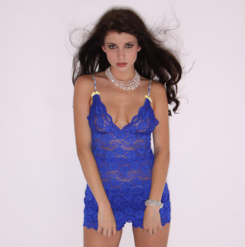 Royal Blue Lace Hip Length Cami with Paisley Straps