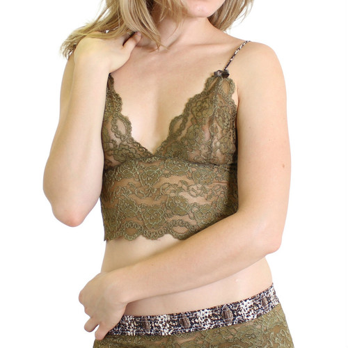 Olive Lace Camisole with Snakeskin Print Straps