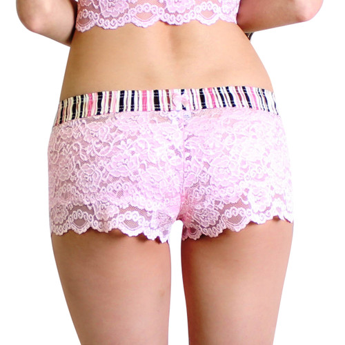 Pink Lace Boxers with Pink Brown Striped Waistband