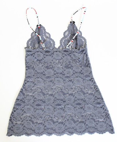 Charcoal Gray Lace Hip Length Camisole (Aqua Chevron Straps)