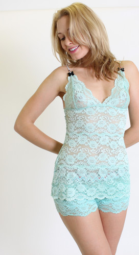 Aqua Lace Hip Length Camisole (Chevron Stripe Straps)