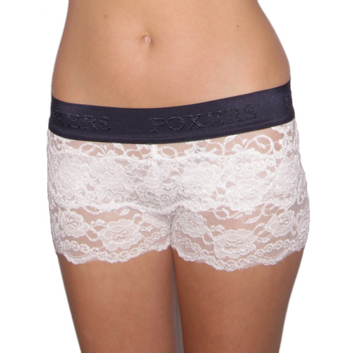 Navy over Ivory Lace Boxers