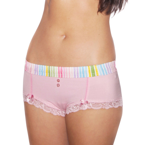Pastel Stripe over Pink Boyshort