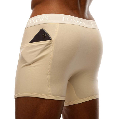 Men's Ivory Boxer Brief with Ivory Logo FOXERS Waistband