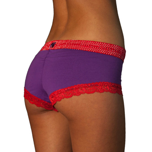 Red Polkadot over Purple Boyshort