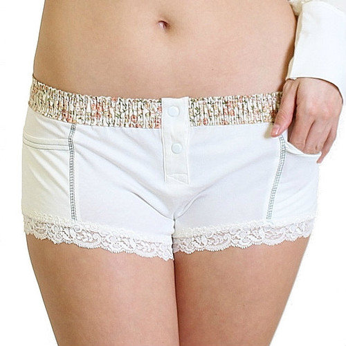 Womens Ivory Boxer Briefs with floral waistband - side pockets