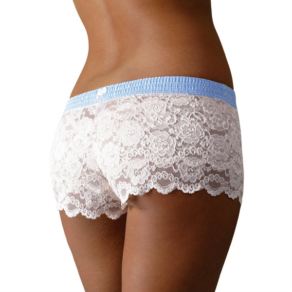 light blue polka dot over ivory lace boxers