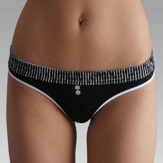 Black Stripe / Black Bstring (White Trim) Thong