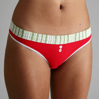 Green Stripe over Red Bstring Thong