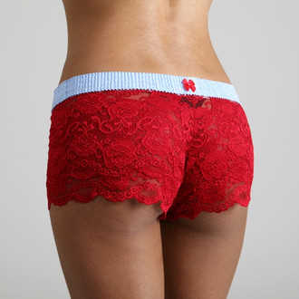 Baby Blue Dot over Red Lace Boxers