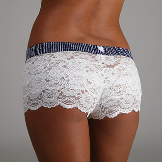 Navy Stripes over Ivory Lace Boxers
