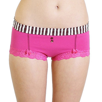 Fuchsia Pink Boyshort with Pink Cocoa Striped Waistband