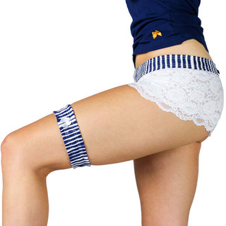 Navy Blue Striped Bridal Garter  and Matching Lace Boxers