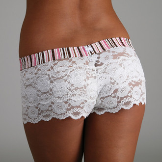 Pink & Brown Stripes over Ivory Lace Boxers