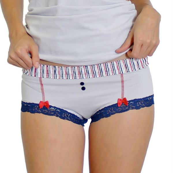 silver boyshorts with multicolored striped foxers band