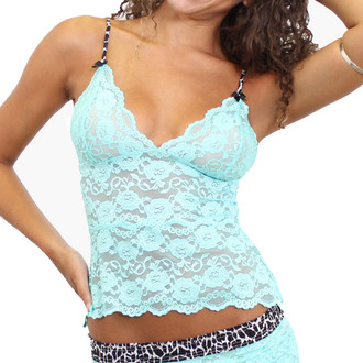 Light Blue  Turquoise Lace Cami