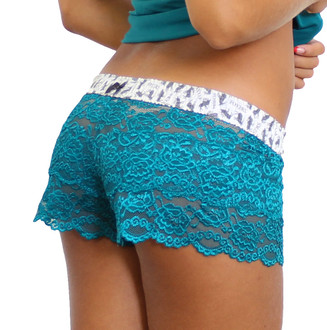 Aurora Blue / Teal Lace Boxer shorts with Elk Print waistband