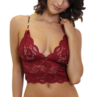 FOXERS Cranberry Lace Top with Zebra Adjustable Straps