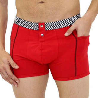 FOXERS Men's Red Boxer Brief with Checker Band