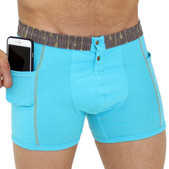 Men's Turquoise Boxer Brief Pockets