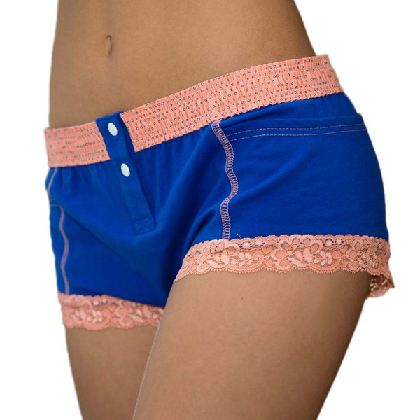 royal blue boxer briefs for women with coral waistband
