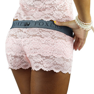 Pink Lace Boxers with Flat FOXERS Logo Waistband