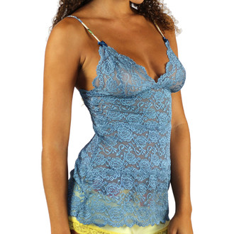 3 Row Blue Lace Camisole with Western Rodeo Print Straps