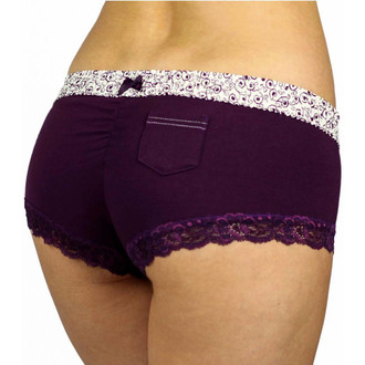 Plum Boyshort Cheeksters with Scroll Print FOXERS Waistband