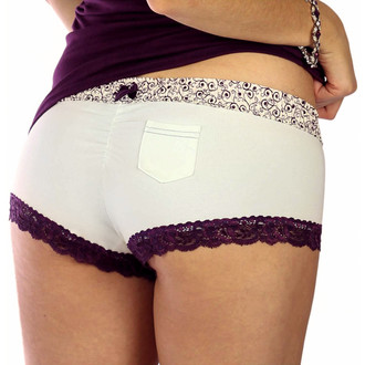 Cheeky Ivory Cotton Boyshort Panties with Plum Scroll Waist (FXBOY-11134)