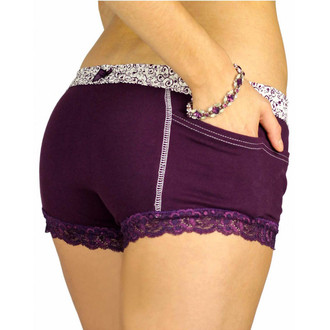 Plum Purple Boxer Briefs for Women with a Scroll Print FOXERS Band