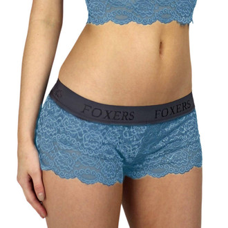 Cowboy Blue Lace Boxer with FOXERS Chargray Logo Elastic band (FXBXR-6526L)