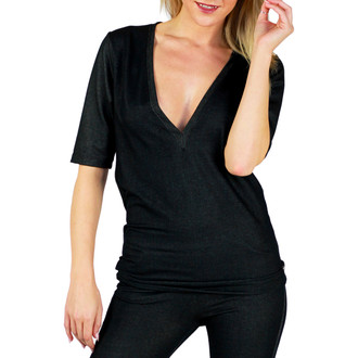Black Stretch Denim Deep V Tshirt (FXTDV-69)