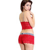 Sarah Q in a FOXERS Red Lace Top and matching Red Lace Boxer Short