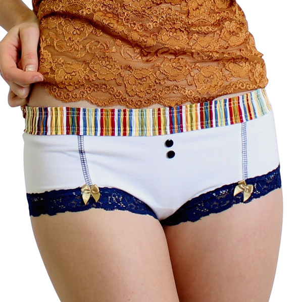 White Boyshort with Navy Gold Stripe FOXERS Waistband