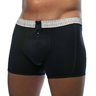 Men's Black Boxer Brief with Grey & White Striped Waistband