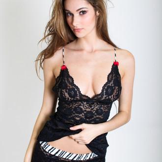 Black Lace Hip Length Camisole (Black Pearl Straps)