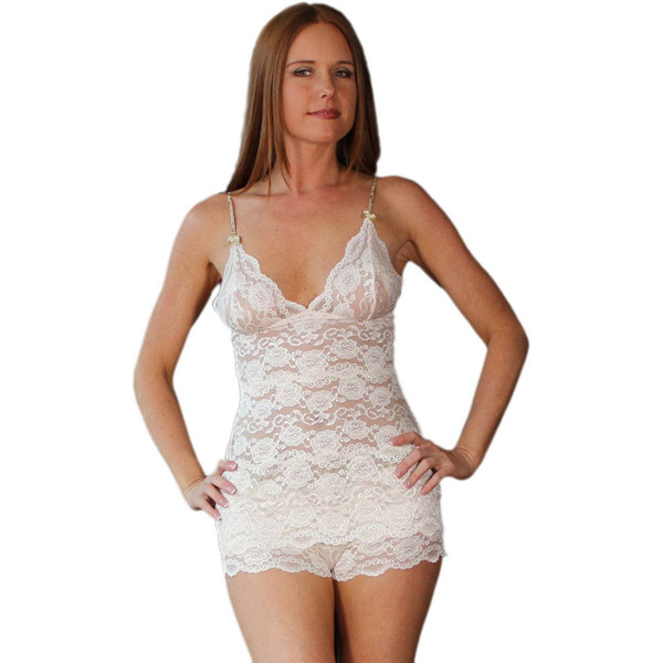 Hip Length Blush Lace Camisole with Blushing Rose Straps