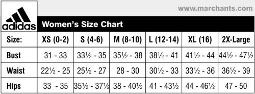 adidas sportswear size chart