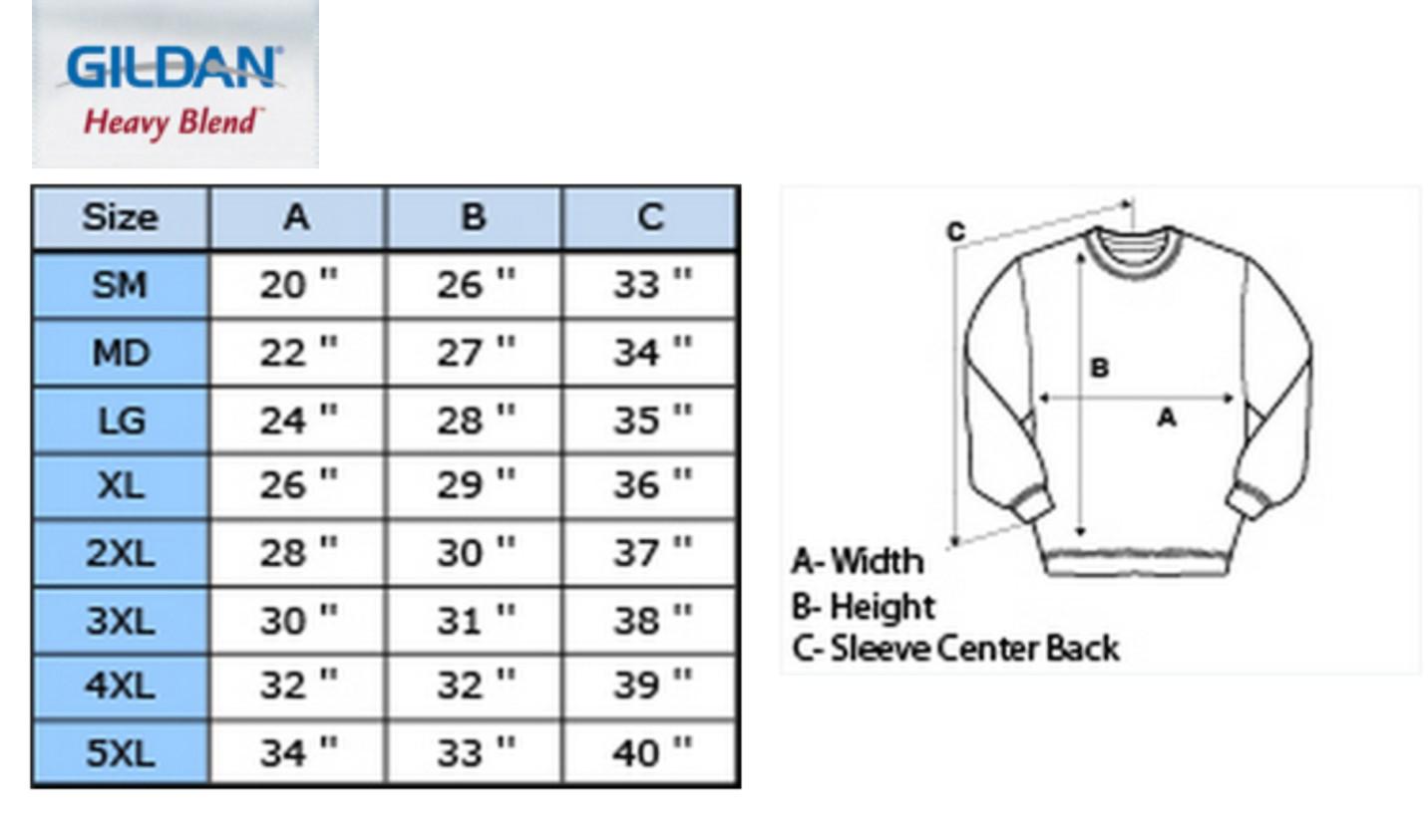 Gildan sweatshirt size chart gildan crewneck sweatshirt size