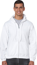 Peel DSB Gildan 18600 Ultra Blend Adult Full Zip Hooded Sweatshirt (S-3XL) - White