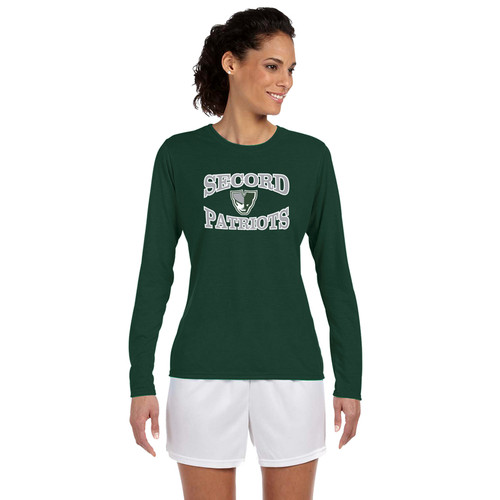 LSS Gildan Women's Long Sleeve Performance Tee - Forest Green (LSS-032-FO)