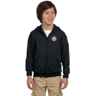 JMS Gildan Heavy Blend Youth Full Zip Hooded Sweatshirt - Black (JMS-049-BK)