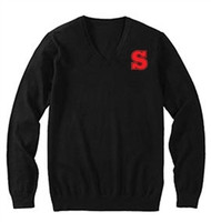 SCA Long Sleeve Acrylic V-Neck Sweater - Black
