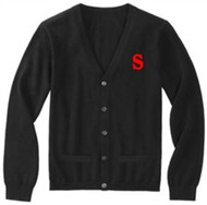 SCA Long Sleeve Acrylic V-Neck Cardigan - Black