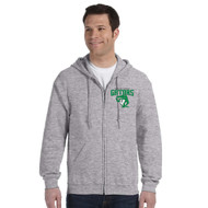 CGG Gildan Men's Heavy Blend Full Zip 50/50 polycotton Hoodie - Sport Grey