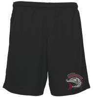 FRB 100% Polyester Mesh Moisture Wicking Shorts with Left Leg Print - Black